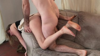 Stepmom stuck over the couch fucked by stepson - Erin Electra