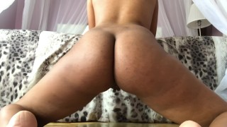 Riding this 9.5 inch White cock