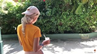 Sweet girl sloppy blowjob, swallows cum - Freya Stein
