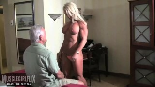 Muscle MILF Dominates Guy in Bed