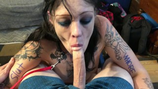 Tattooed garbage JezabelJamez wrote on, used blowing cock facial blasted TX