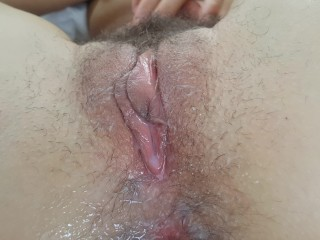 CREAM PIE ONLY-pushing cum from my hairy pussy