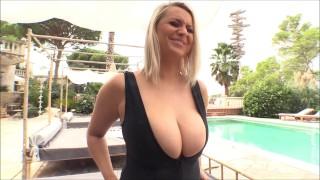 Huge titties poolside photoshoot with Emma Rachael