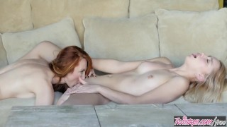 Screen Capture of Video Titled: Twistys - Ginger milf Kendra James teaches Aurora Belle