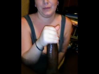 Pregnant MILF gives INTENSE BBC blowjob!