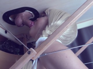 Rimming on massage table milking cock and hot blowjob cum mouth