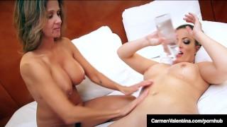 Screen Capture of Video Titled: Sexy Hot Wife Rio Pussy Fucks VNA Carmen Valentina!