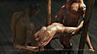 Military Sexy Cute girl get fucked By two enemies-Realistic Animated Porn