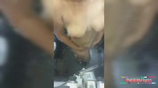 My girlfriend taking shower and playing with boobs