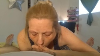 MILF gives BJ to Boy Bestie First time on cam