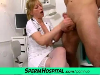 Mom boy CFNM handjob feat. uniform lady doctor Gabina