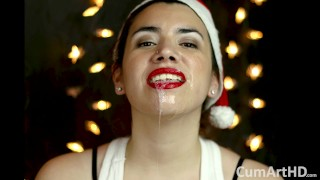 Screen Capture of Video Titled: Merry Christmas! Holiday blowjob and facial! + Bonus photo session!
