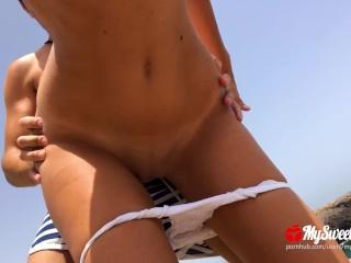 Public Sex on a Nudist Beach - Amateur Couple MySweetApple in Lanzarote