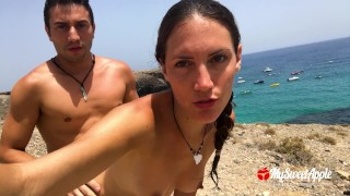 Public Sex on a Nudist Beach - Amateur Couple MySweetApple in Lanzarote
