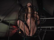Teen in submission trapped in the bondage dungeon endures her discipling bondage pov