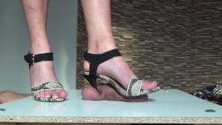High heels cock trampling
