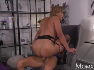 MOM Dirty talking Latina MILF in fishnet stockings wants it harder