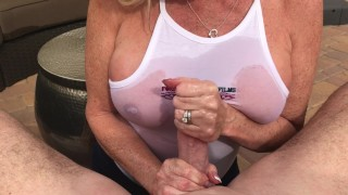 Jodi West gives an Oiled Up Handjob