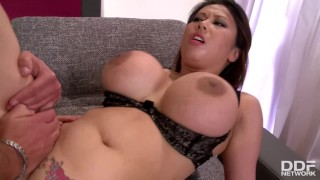 Fountains of sperm all over big Milf tits make her orgasm