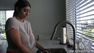 Violet Myers Sexy Dishwashing Voyeur Time