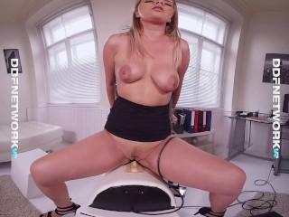 Hot VR Sex Doctor Amaris masturbates in immersive POV clinic examination