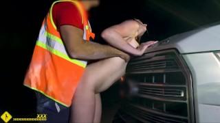 Roadside - Stranded brunette fucks her mechanic on side of the road
