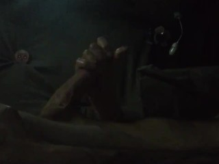 Hot Tattooed bi otter strokes big cock shoots load blowing clouds in truck