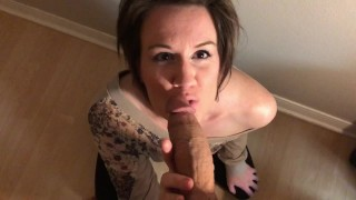 Short haired MILF gives amazing BLOWJOB and gets FACIAL