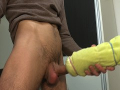 Vibrating DIY Homemade Fleshlight Tutorial - Guy Moaning Loud While Cum 4K