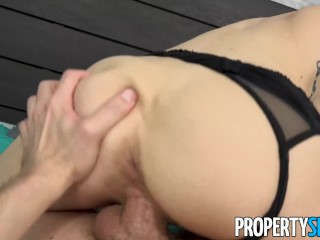 PropertySex – Tiny babe fucks roommate's big cock