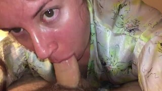 Real wife sexgives sloppy enthusiastic blowjob