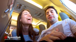 Risky Blowjob in a Plane to Berlin - Mile High Club - Amateur MySweetApple
