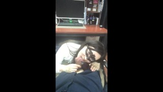 Horny Young Secretary seeking Promotion with Blowjob Under The Table