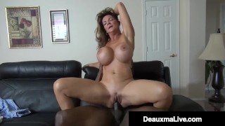 Screen Capture of Video Titled: Horny Cougar Deauxma Fucks Big Black Cock Debt Collector!