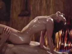 Massage Rooms petite Czech blonde Lady Bug slippery handjob and cowgirl sex