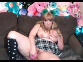 Cute slutty cam girl sucks and fucks dildo, shakes huge ass for you
