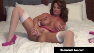 Busty Cougar Deauxma Stuffs Her Ass With A Butt Plug & Cums!