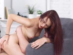 Slimt Redhead babe Michelle Can wanks & fucks stud's big veiny dick