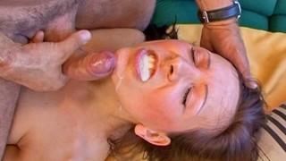 MILF eating a cumshot