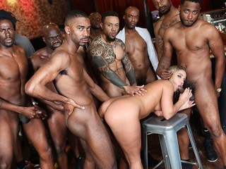 BBC Slut Candice Dare Survives Interracial Gangbang In The Bar