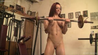 Teen Redhead Naked Female Bodybuilder and Her Gym Dildo Fucking Herself