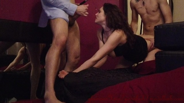 Breaking the ass on my first threesome with two guys!
