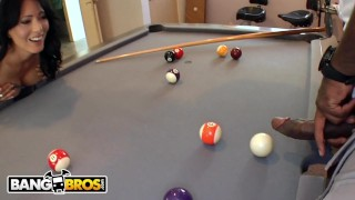 Screen Capture of Video Titled: BANGBROS - Zoey Holloway Plays With Rico Strong's Big Black Pool Stick Dick