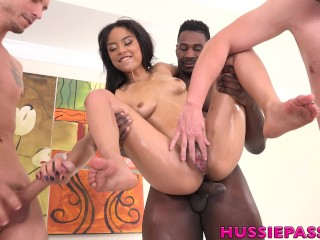 Maya Bijou takes 4 big cocks at once in this amazing display of sluttiness!