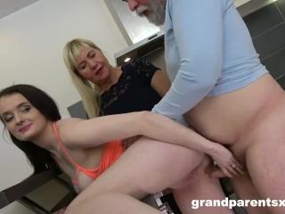 Old couple fucks girl