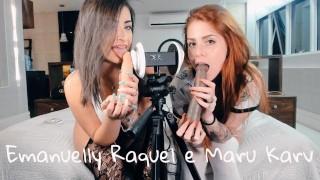 Screen Capture of Video Titled: ASMR 3DIO Blowjob Emanuelly Raquel And Marukarv Brazilian Girls ORAL BBC