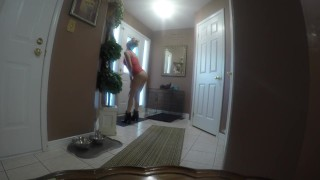 My first Pizza Dare Video! in short skirt no panties tanned bubble butt