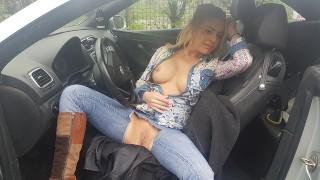 Stranger broke my panties, stroked my pussy , masturbate, while i driving