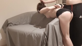 Daddy's Tied Spanked Slut Gives Rough Sloppy Facefuck - TheMaskedCat