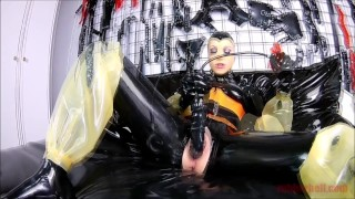 Home alone in latex and huge inflatable dildo